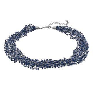Blue Tube Bead Chunky Choker Necklace