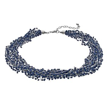 Blue Tube Bead Chunky Choker Necklace