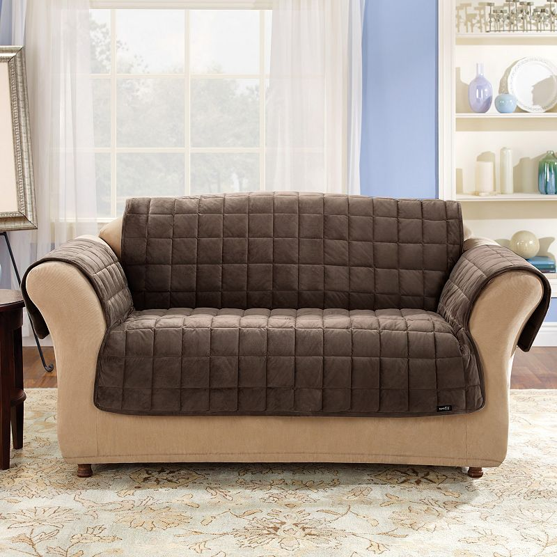 Sure Fit Deluxe Comfort Loveseat Slipcover. Brown