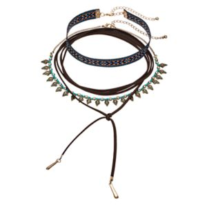 Mudd® Tribal, Embroidered & Lariat Choker Necklace Set