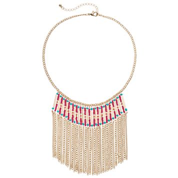 Mudd® Seed Bead Fringe Statement Necklace