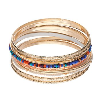 Mudd® Beaded & Textured Bangle Bracelet Set