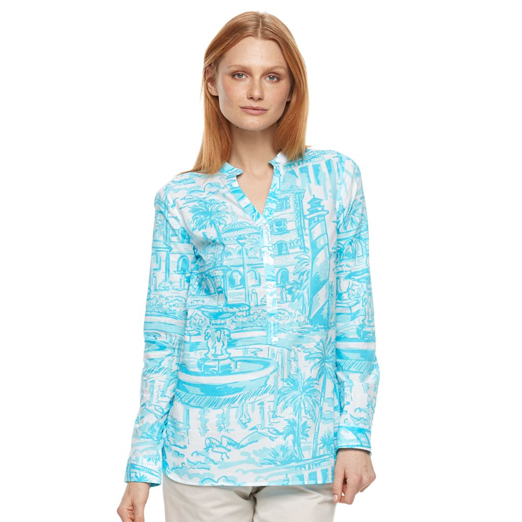 Women's Caribbean Joe Tropical Henley Tunic