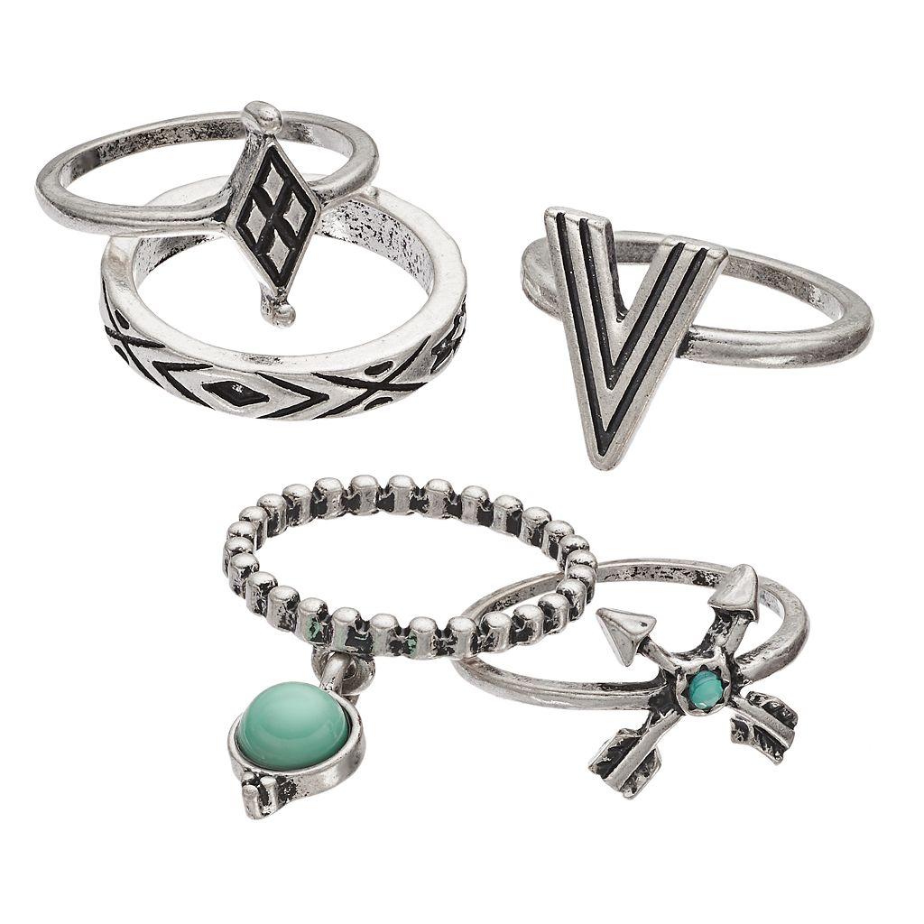 Mudd® Aqua Cabochon, Arrow & Textured Ring Set