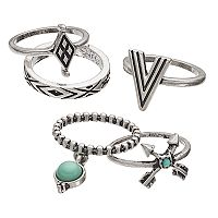 Mudd® Aqua Cabochon, Arrow & Textured Ring Set