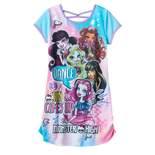"Girls 6-16 Monster High ""Dance Til The Sun Comes Up"" Graphic Dorm Nightgown"