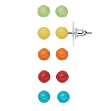 Multi Color Ball Stud Earring Set