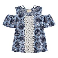 Girls 7-16 Rewind Patterned Cold-Shoulder Crochet Front Tee