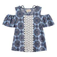 Girls 7-16 Rewind Patterned Cold-Shoulder Crochet Front Tee