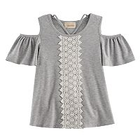 Girls 7-16 Rewind Cold-Shoulder Crochet Front Tee