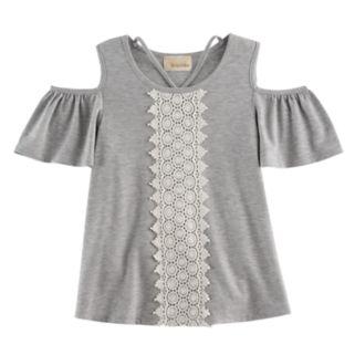 Girls 7-16 Rewind Cold-Shoulder Crochet Front Tee