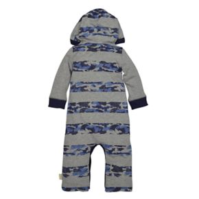 Baby Boy Burt's Bees Baby Organic Striped Camouflage Hooded Coverall