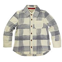 Baby Boy Burt's Bees Baby Organic Plaid Button Down Shirt