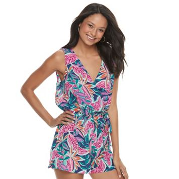 Juniors' Lily Rose Tropical Print Romper