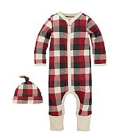 Baby Boy Burt's Bees Baby Organic Convertible Checked Coverall & Hat Set