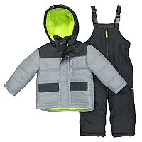 Toddler Boy OshKosh B'gosh® Quilted Colorblocked Jacket & Bib Overall Snow Pants Set