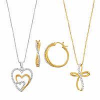 Two Tone Diamond Accent Heart, Cross & Twist Jewelry Set