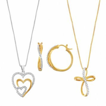 Two Tone Diamond Accent Heart, Cross & Twist Jewelry Set