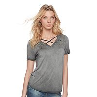 Women's Rock & Republic® Crisscross Stud Tee