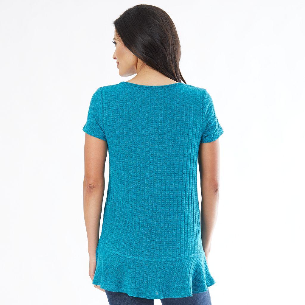 Women's AB Studio Ribbed Flounce Tee