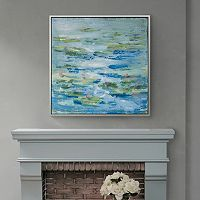 Madison Park Signature Lilies In A Blue Pond Framed Wall Art