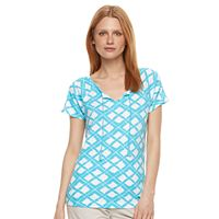 Women's Caribbean Joe Geometric Splitneck Tee