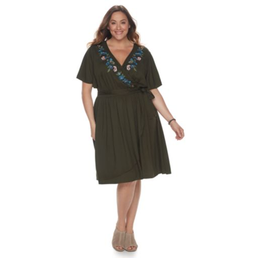 Plus Size SONOMA Goods for Life™ Embroidered Wrap Dress