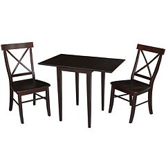 International Concepts Wood Dual Drop Leaf Dining Table & Chair 3-piece Set