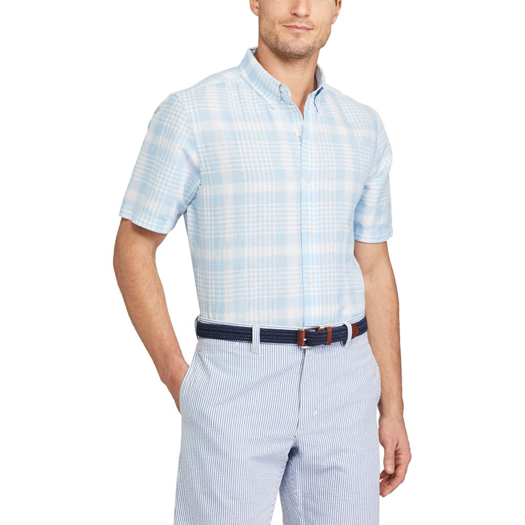 Big & Tall Chaps Classic-Fit Plaid Linen-Blend Button-Down Shirt