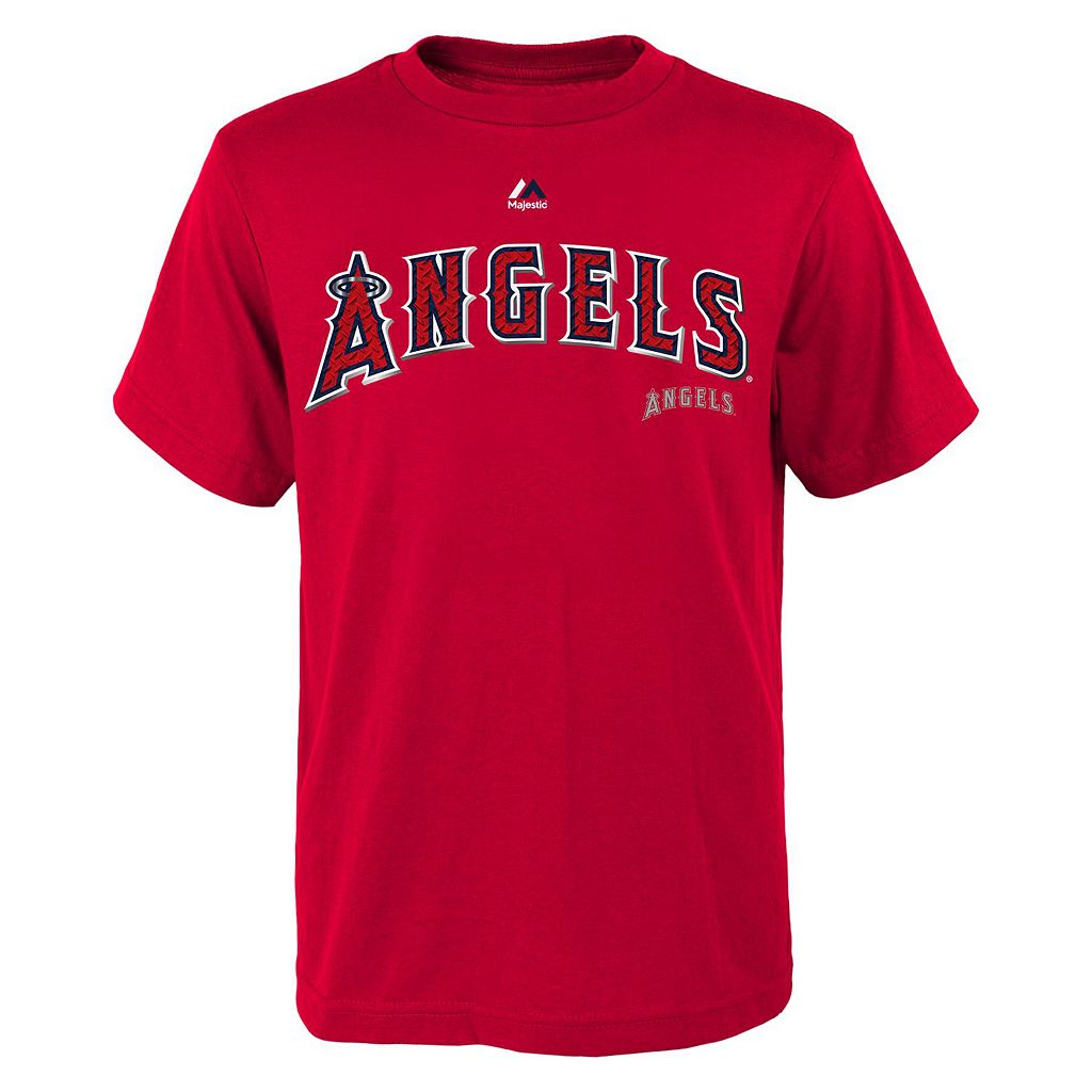 Boys 8-20 Majestic Los Angeles Angels of Anaheim Mike Trout Metal Grid Player Name and Number Tee