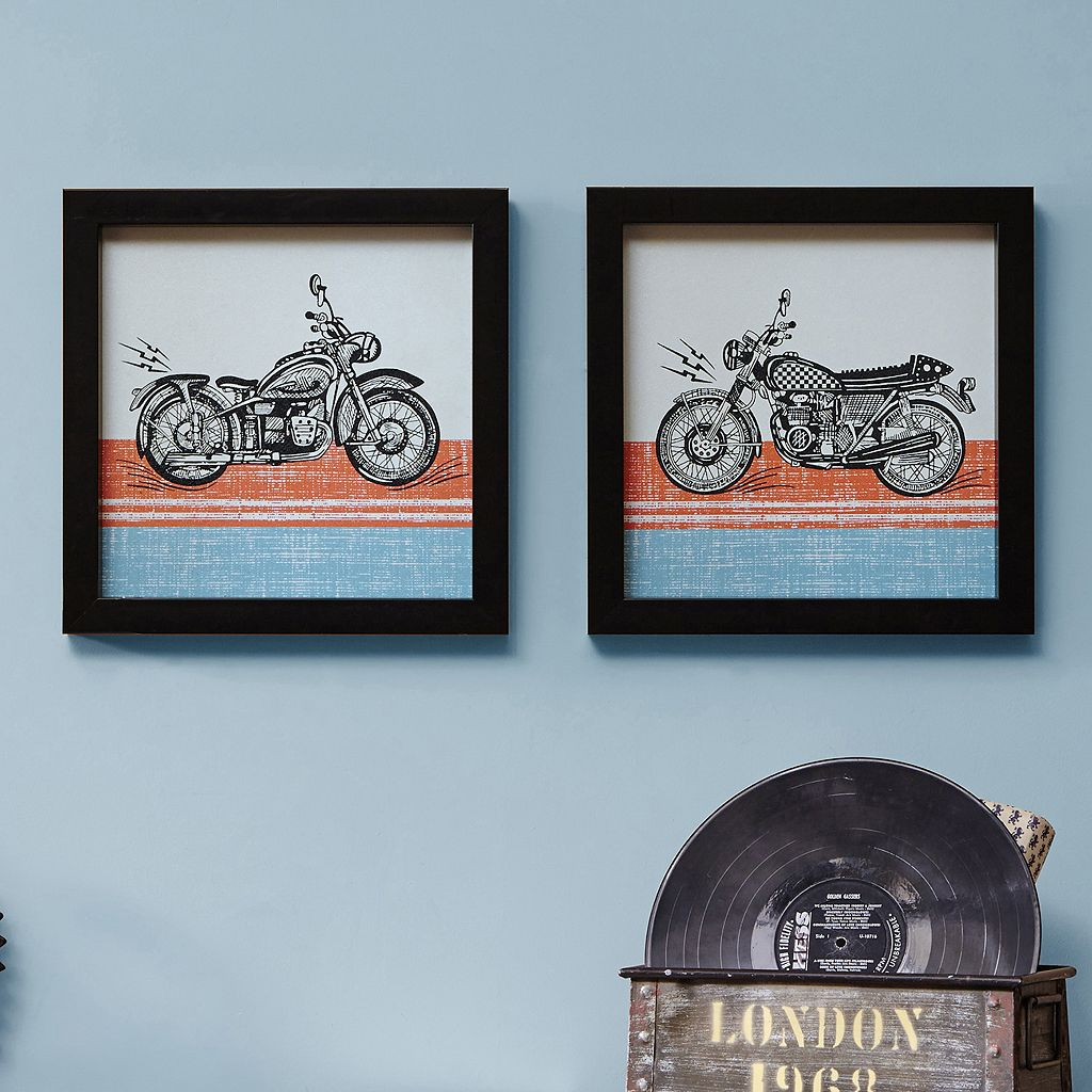 Intelligent Design Racing Motos Framed Wall Art 2-piece Set