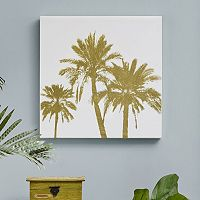 Intelligent Design Gold Palms Canvas Wall Art