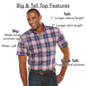 Big & Tall Chaps Classic-Fit Checked Stretch Poplin Button-Down Shirt