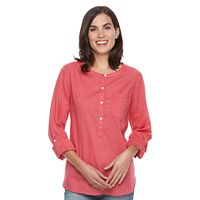 Women's Croft & Barrow® Printed Roll-Tab Henley Shirt