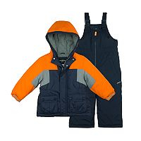 Boys 4-7 Carter's Orange Colorblock Heavyweight Jacket & Bib Snowpants Snowsuit Set