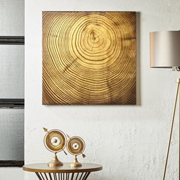 INK+IVY Wood Grain Metallic Canvas Wall Art