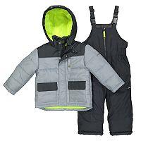 Boys 4-7 OshKosh B'gosh® Quilted Colorblocked Jacket & Bib Overall Snow Pants Set