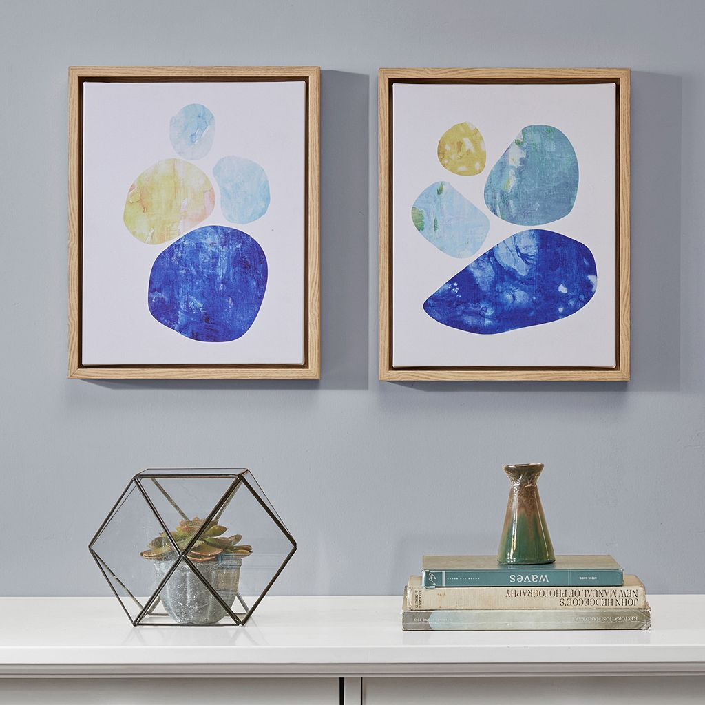 INK+IVY Stacked Blue Circles Framed Wall Art 2-piece Set