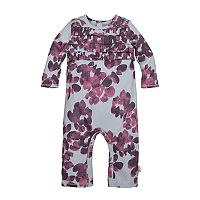 Baby Girl Burt's Bees Baby Organic Ruffled Watercolor Coverall