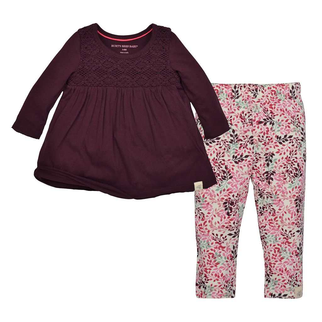 Baby Girl Burt's Bees Baby Crochet Top & Leaf Leggings Set