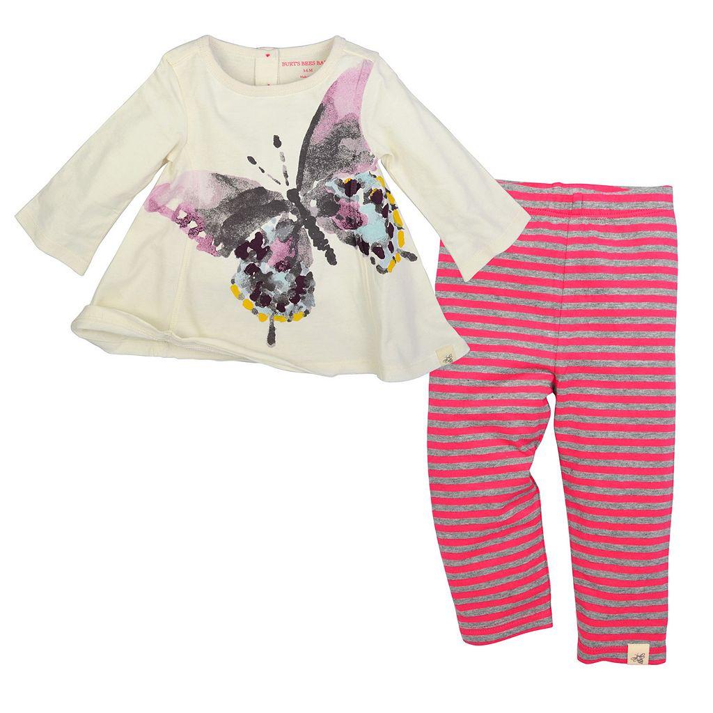 Baby Girl Burt's Bees Baby Organic Butterfly Tunic & Striped Pants Set