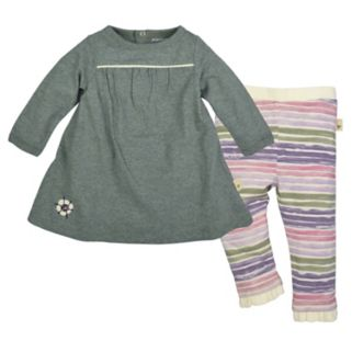 Baby Girl Burt's Bees Baby Organic Shirred Dress & Striped Pants Set