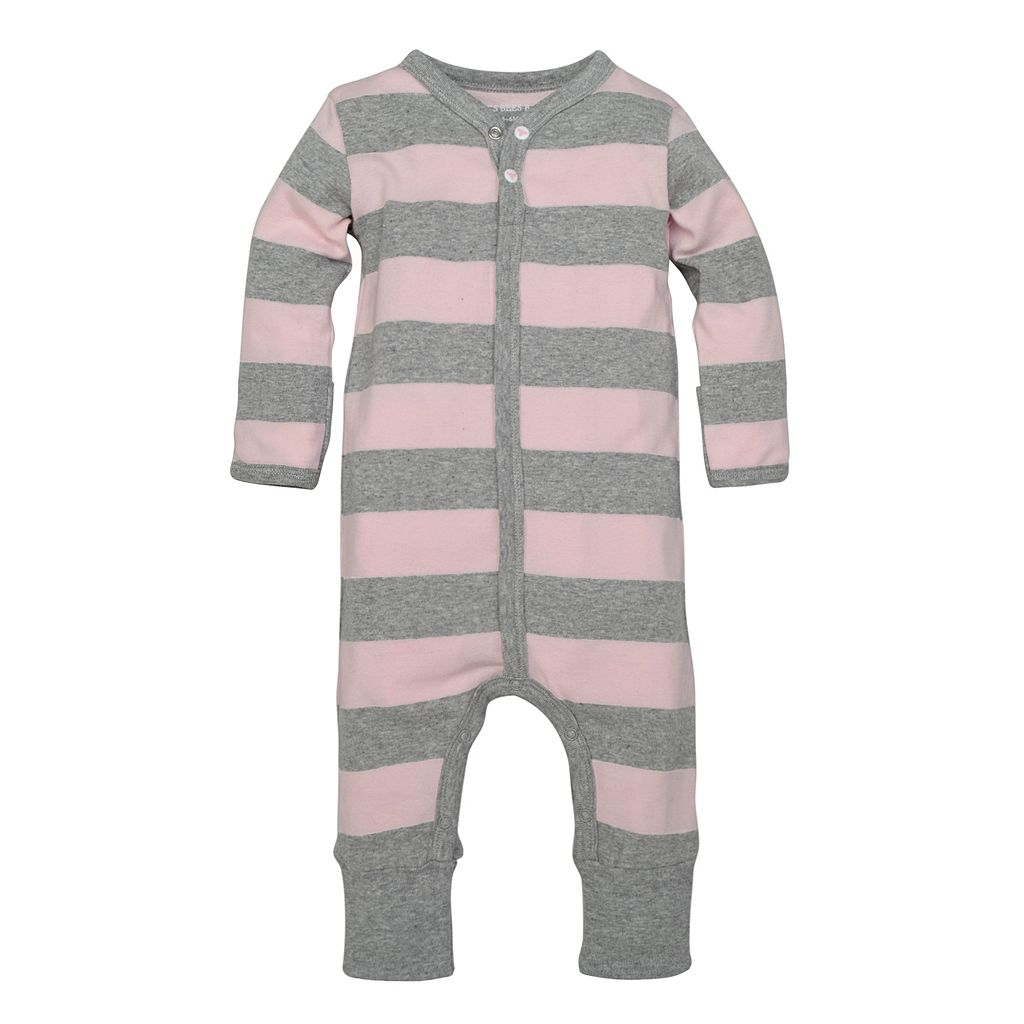 Baby Girl Burt's Bees Baby Organic Convertible Striped Coverall & Hat Set