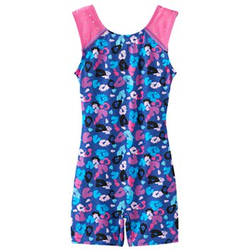 Girls 4-14 Jacques Moret Leopard Embellished Biketard Leotard