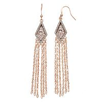 Jennifer Lopez Oblong Halo Chain Fringe Linear Earrings