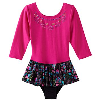 Girls 4-14 Jacques Moret Long Sleeve Embellished Skirted Leotard