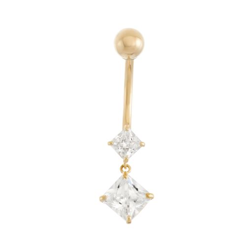 10k Gold Cubic Zirconia Belly Ring