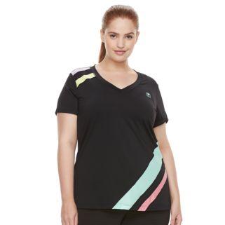 Plus Size FILA SPORT® Slash Stripe V-Neck Tee