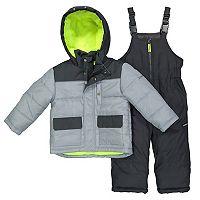 Baby Boy OshKosh B'gosh® Quilted Colorblocked Jacket & Bib Overall Snow Pants Set