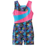 Girls 4-14 Jacques Moret Splatter Colorblock Biketard Leotard